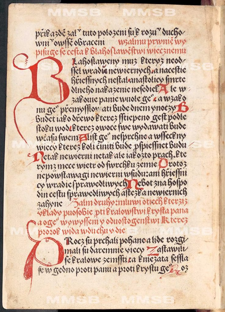 Prologue to the Book of Psalms in Old Czech Printed Bibles